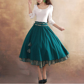 Peacock Blue  Cotton skirt women skirt fashion skirt vintage skirt--ST002