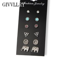 GIVVLLRY 6 pairs/set Vintage Stud Earings Fashion Jewelry Boho Punk Totem Elephant Carved Anti Silver Color Earrings for Women