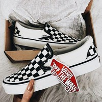 Trendsetter VANS Slip-On Canvas Old Skool Print Flats Sneakers Sport Shoes