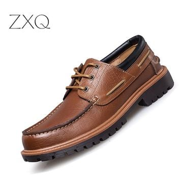 Men's Leather Laced Casual Oxford Shoes