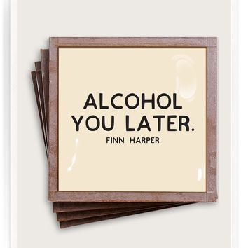Alcohol You Later Copper & Glass Coasters, Set of 4