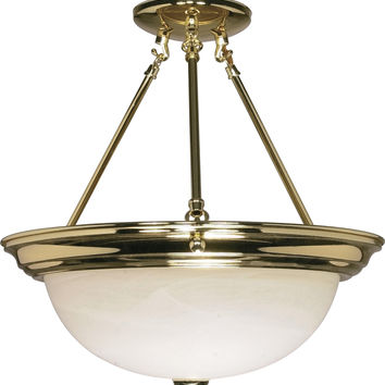 "15"" Semi Flush Mount Lighting Fixture in Polished Brass Finish"