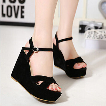 Stylish Design Summer High Heel Wedge Thick Crust Sandals [4920625284]