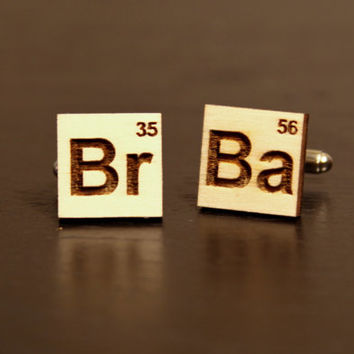 Breaking Bad Wood Engraved Cufflinks: Gift for Him, Groomsmen, Bachelors, Bridesmaid, Fathers Day