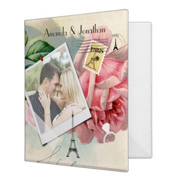 Vintage Paris Themed Wedding Party Personalized Binders
