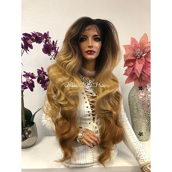 Brown Blond Brunette Balayage Ombre Swiss Lace Front Wig 30 Inches | 360' Deep MULTI Parting | Volume Curls Layered Hair | Parker 1018 50