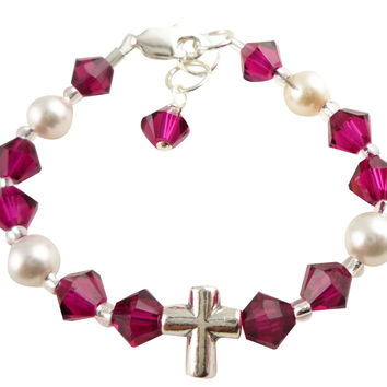 Ruby Crystal & Pearl Cross Bracelet for Girls, Baby