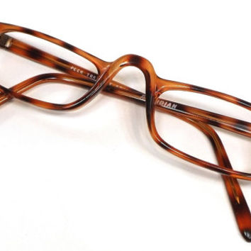 vintage 80s deadstock reading frame rectangular plastic eyeglasses translucent brown tortoise shell eye glasses eyewear men unisex women 167