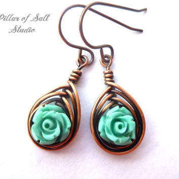 wire wrapped earrings, Turquoise rose & Copper earrings, wire wrapped jewelry handmade, wire jewelry, copper jewelry, earthy boho jewelry