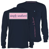 Simply Southern Collection Classic Logo Navy Long Sleeve Pocket T-Shirt
