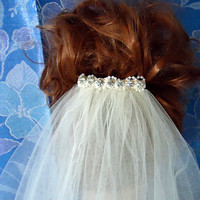 Double Tier 36 Inch Illusion Embellished Comb Wedding Veil