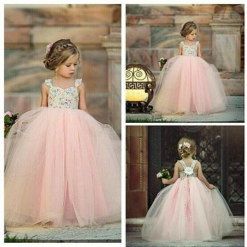 Flower Girl Kids Lace Dress Princess Party Wedding Bridesmaid Tulle Gown US