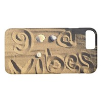"Fun, ""Good Vibes"" Hand Drawn In Beach Sand Photo iPhone 8/7 Case"