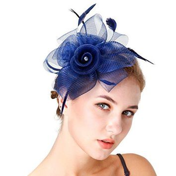 HNBQMX Fascinator Headband Cocktail Kentucky Derby Feather Headwear Bridal Headpiece