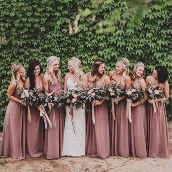 2016 Dusty Rose Pink Bridesmaid Dresses Sweetheart Ruched Chiffon A-line Long Maid of Honor Dresses Wedding Party Gown Plus Size