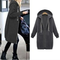 2017 burst thickening in the long hooded sweater coat