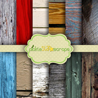 Wooden  Vol2 - 12 Digital Scrapbook Papers - 8.5x11inch - Printable Backgrounds - Wood Textured - INSTANT DOWNLOAD