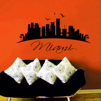 Miami Wall Decal City Decal Miami Skyline Silhouette Landscape Vinyl Stickers Art Murals Home Bedroom Decor Living Room Interior Design KI94