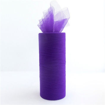 Tulle Spool Fabric Net Roll, 6-inch, 25-yard, Purple