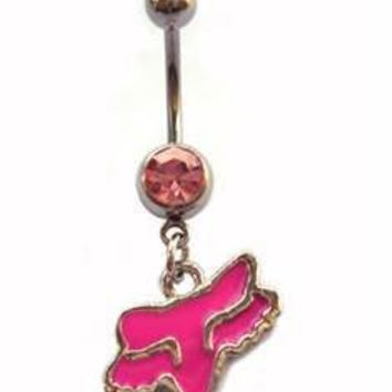 Pink Fox racing fox Head Dangle Belly Ring