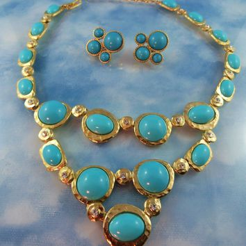 Signed KJL Kenneth J Lane Turquoise Glass & Crystal Statement Necklace & Earrings