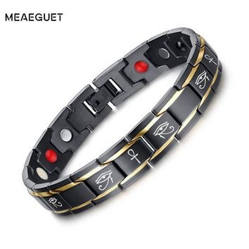 Meaeguet Ankh Bracelets Men 3000 Gauss Magnetic Bio Energy Healh Care Jewelry Boyfrined Gift Adjustable