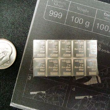 Valcambi Suisse 10x1gram Combibar, 999 Solid Silver from Switzerland