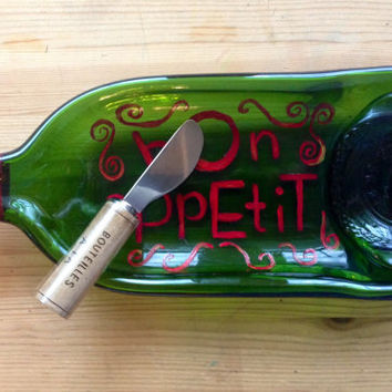 Hand painted Bon Appetit Slumped Large Wine Bottle cheese tray with cork cheese knife