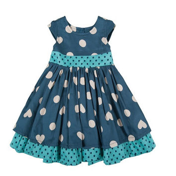 Little Twirly Bow Dress - Polka Hearts Made from soft organic cotton and a sateen layer underneath