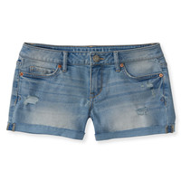 Aeropostale  Destroyed Light Wash Denim Midi Shorts
