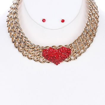 Red Chunky Layered Chain Collar Pave Crystal Stone Heart Necklace And Earring Set