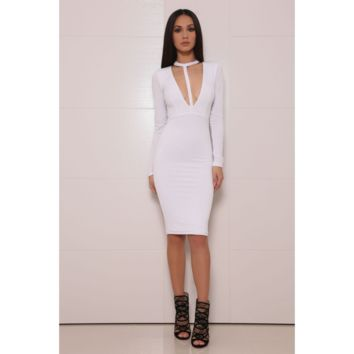 White Deep V Neck Cutout Long Sleeves Bodycon Dress