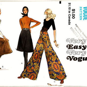"70's Boho Very Easy Very Vogue Pattern 7909 - Sz 25.5"" Waist 36"" Hip Uncut FF Fabulous Palazzo or Gaucho Pants Sewing Supplies Patterns"