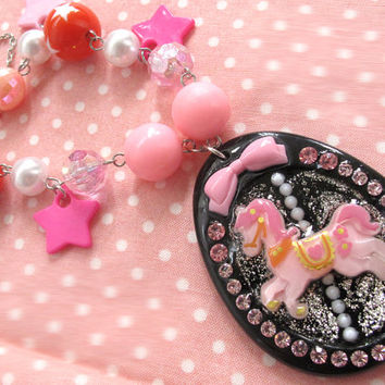 Lolita Harajuku Inspired Fantasy Merry Go Round Pink Carousel Horse on Black crystallized Cameo with Pink ribbon Chunky Necklace