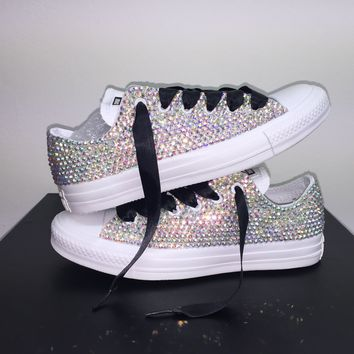 All Star Mono White Converse Bedazzled In AB Crystals Black Laces