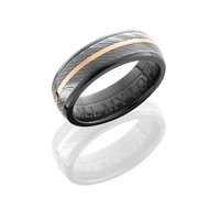 Black Zirconium Wedding Band with 5mm Damascus Steel Strip and 14K Rose Gold Strip