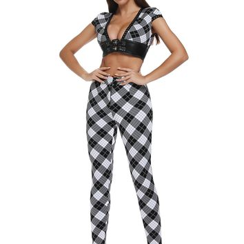 Black And White Checker Crop Top Pants Suit