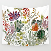 Succulents  Wall Tapestry by Hannah Margaret Illustrations