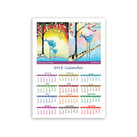 2015 Kids Wall Calendar, Cute Whimsical Birds Children's Art Calendar For Kids Room Decoration 13x18