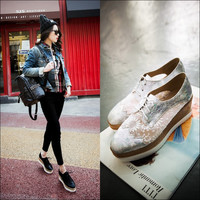 Korean Stylish Embroidery Platform Height Increase Shoes [4920520068]