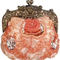 MG Collection Elaine Antique Beaded Rose Purse, Pink, One Size