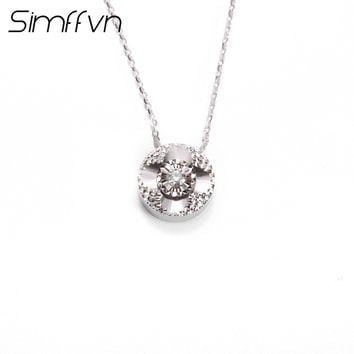 Simffvn Cluster 0.043CT Natural Diamond 18K White Gold Solitaire  Jewelry Include a Chain For Women Fashion Party Fine Jewelry