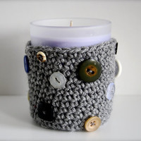 Upcycled Vintage Button Crochet Cozy with by LuckyNumberEight