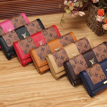 Louis Vuitton Women Fashion Multicolor Print Long Section Double Layer Purse Button Flip Wallet Handbag