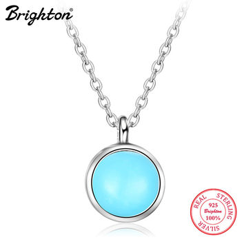 Brighton 925 Sterling Silver Red Orange Blue Natural Stone Pendant Necklaces for Women Genuine Turquoise Silver Jewelry