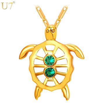 U7 New Gold Color Jewelry Women Green Necklace Fashion Trendy Cubic Zircon Animal Charm Hollow Turtle Pendant P898