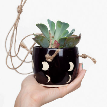 Small Spells Black Moon Phase Hanging Planter for Poketo