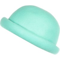 Aqua rolled brim bowler hat - hats - accessories - women