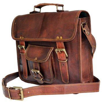 IN-INDIA Pure Vintage Leather Briefcase Styled Light- Weight Messenger Satchel Bag - Fits Laptop Upto 13.3 Inches