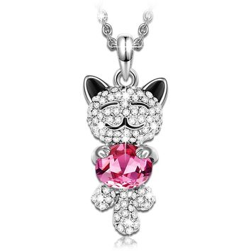 """Lucky Cat"" Animal Design Women Pendant, Made with Rose Swarovski Crystal Women Necklace with Luxury Jewelry Box on Valentine's Day!"